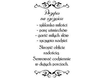 Cytaty, Przepis na szczęście, Naklejka ścienna, 50x100 cm-Oobrazy