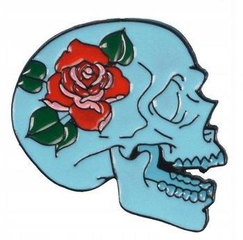 Czaszka niebieska z Różą przypinka-Pinets