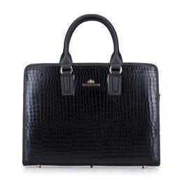 Damska torba na laptopa ze skóry croco z metalowymi nóżkami 15-4-230-1