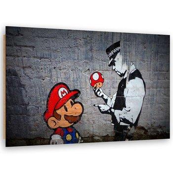 Deco Panel FEEBY Banksy street art Super Mario i policjant, 30x20 cm-Feeby