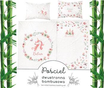 Detexpol, Pościel niemowlęca, 2-elementowa, Bawełna/Bambus, Jednorożec/Kwiaty, 90x120 cm  -Detexpol