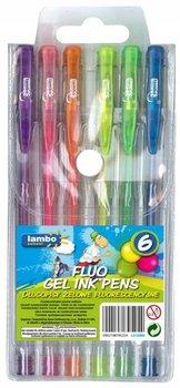 Długopisy żelowe, fluorescencyjne, 6 kolorów-Amex