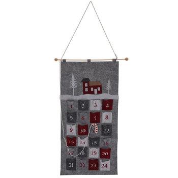 Domek, kalendarz adwentowy wiszący, szary, 50x80 cm