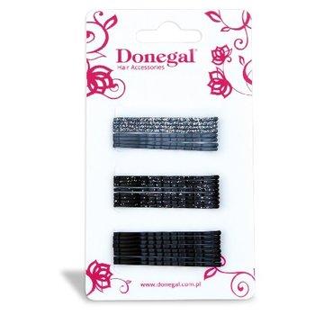 Donegal, wąskie wsuwki do włosów, czarne i szare, 24 szt.-Donegal