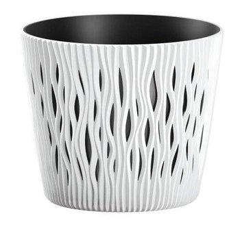 Doniczka PROSPERPLAST Sandy Round, biała, 22 cm-PROSPERPLAST