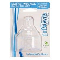 Dr Brown's, Smoczek do butelki z szeroką szyjką, poziom 2, 2 szt.