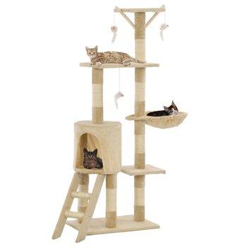 Drapak dla kota VIDAXL z sizalowymi słupkami, 138 cm, beżowy-vidaXL