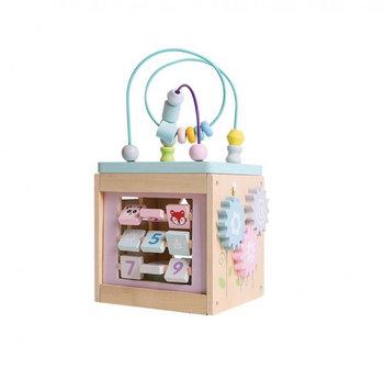 Drewniana kostka edukacyjna centrum zabawy przeplatanka Pastelowa (GXP-739410)-IWOOD