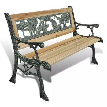 Drewniana ławka VIDAXL dla dzieci z motywem zwierzęcym, 80x24cm-vidaXL