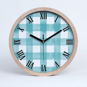 Drewniany rzymski zegar niebieska krata fi 30 cm, Tulup-Tulup