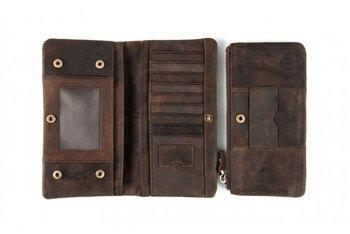 Drobiny Czasu, portfel uniwersalny, skórzany, brązowy-Drobiny Czasu