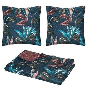 Dwustronna narzuta na łóżko HOJA, motyw liści tropikalnych, 240 x 260 cm-Atmosphera