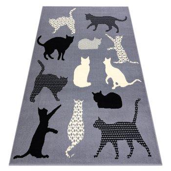 Dywan BCF FLASH Cats 3996 - Koty, kotki szary, 160x220 cm-Dywany Łuszczów
