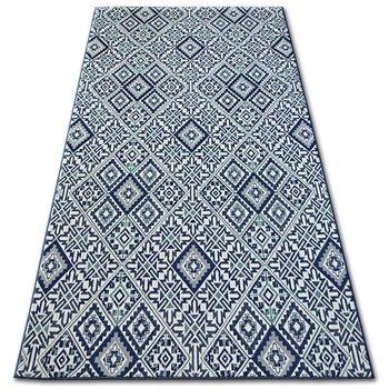 Dywan DYWANY ŁUSZCZÓW Sizal Color Kwadraty, niebieski, 80x150 cm-Dywany Łuszczów