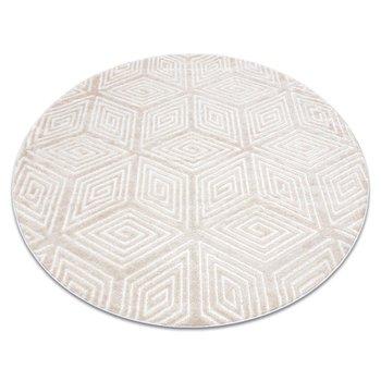 Dywan MEFE nowoczesny Koło B403 Kostka, geometryczny 3D - Strukturalny, dwa poziomy runa krem / beż, koło 100 cm-Dywany Łuszczów