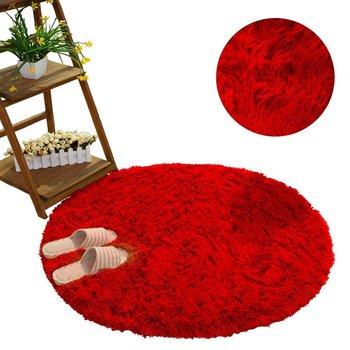 Dywan okrągły shaggy STRADO BloodyRed, jasny czerwony, 160x160 cm-STRADO