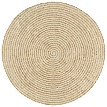Dywan pleciony z juty vidaXL, okrągły, spiralny wzór, jasnobrązowo-biały, 90 cm-vidaXL