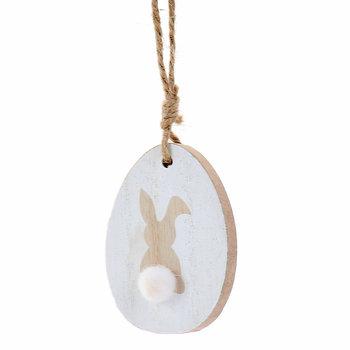 Easter Time, Zawieszka dekoracyjna, jajko, biało-beżowe, 8 cm-Empik