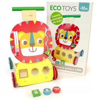 Eco Toys, drewniany pchacz wózek edukacyjny sorter-Ecotoys