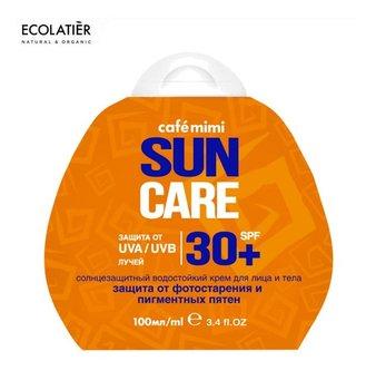 Ecolatier CAFE MIMI Przeciwsłoneczny krem do twarzy i ciała SPF+30 Ochrona przed fotostarzeniem i plamami pigmentacyjnymi 100ml-Ecolatier