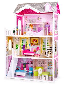 Ecotoys, domek dla lalek z lalką Rezydencja California, różowo-żółty, 124x84x38 cm -Ecotoys