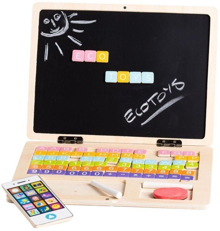 Ecotoys, drewniany laptop edukacyjny