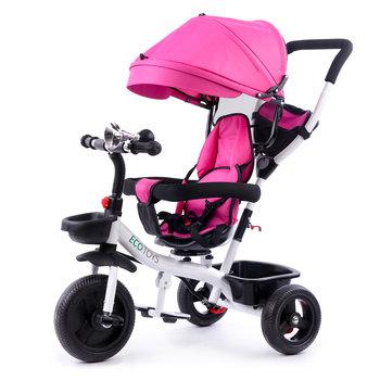 Ecotoys, rower trójkołowy wózek obracane siedzisko, Pink -Ecotoys
