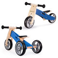 Ecotoys, rowerek biegowy trójkołowy drewniany 2w1, Blue Ecotoys-Ecotoys