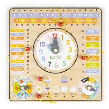 Ecotoys, tablica manipulacyjna z kalendarzem i zegarem-Ecotoys