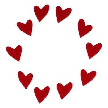 EKO-DECO, scrapki z filcu, asymetryczne serca, 10 szt.-EKO-DECO