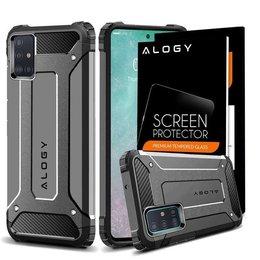 Etui Alogy Hard Armor do Samsung Galaxy A71 szare + Szkło Alogy