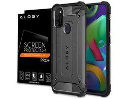 Etui Alogy Hard Armor do Samsung Galaxy M21 szare + Szkło Alogy