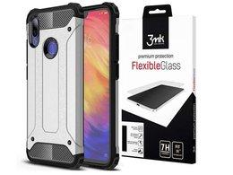 Etui Alogy Hard Armor do Xiaomi Redmi Note 7/ Note 7 Pro Srebrne + szkło 3mk