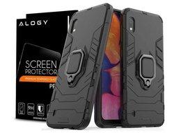 Etui Alogy Stand Ring Armor do Samsung Galaxy A10 czarne + Szkło Alogy