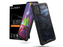 Etui na telefon Ringke Fusion X do Samsung Galaxy M51 Camo Black + Szkło Alogy