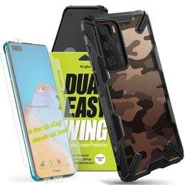 Etui Ringke Fusion X do Huawei P40 Camo Black + 2x Folia Ringke