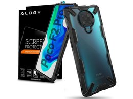 Etui Ringke Fusion X do Pocophone F2 Pro/Redmi K30 Pro Black + Szkło Alogy