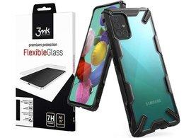 Etui Ringke Fusion X do Samsung Galaxy A51 Black + Szkło 3mk