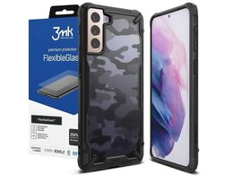 Etui Ringke Fusion X do Samsung Galaxy S21 Plus Camo Black + Szkło 3mk