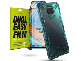 Etui Ringke Fusion X do Xiaomi Redmi Note 9S/ Pro/ Max Turquoise Green + 2x Folia Ringke