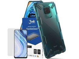 Etui Ringke Fusion X do Xiaomi Redmi Note 9S/ Pro/ Max Turquoise Green + Szkło 3mk