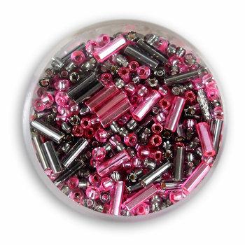 Euroclass, koraliki ozdobne, rokoko, różowo-czarne, 16 g