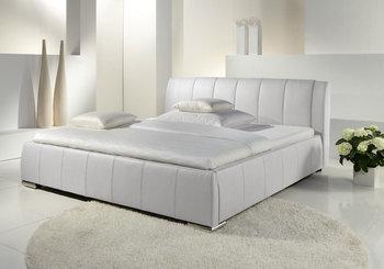 Eva łóżko Tapicerowane Ze Stelażem I Pojemnikiem Na Pościel Białe 120x200 Cm