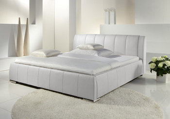 Eva łóżko Tapicerowane Ze Stelażem I Pojemnikiem Na Pościel Białe 140x200 Cm