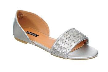 Family Shoes, Baleriny damskie, Peep Toe Silver, rozmiar 40-Family Shoes