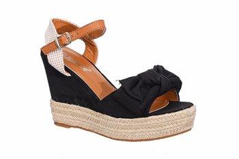 Family Shoes, Sandały damskie z kokardą, czarne, rozmiar 40-Family Shoes