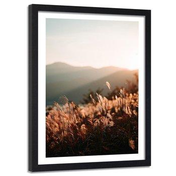 Feeby, Obraz w ramie czarnej, Zboża i gór, 80x120 cm-Feeby