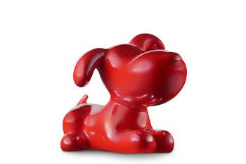 Figurka Pies VELPO perłowa czerwień, 9,5x7,5x7, ceramika -Konsimo