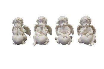 Figurka PIGMEJKA Aniołek z Sercem, biała, 5,5x4 cm-Pigmejka