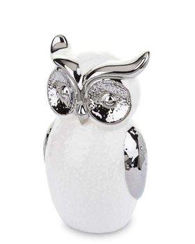 Figurka Sowa Stojąca Biało Srebrna Porcelana 16cm-Pigmejka